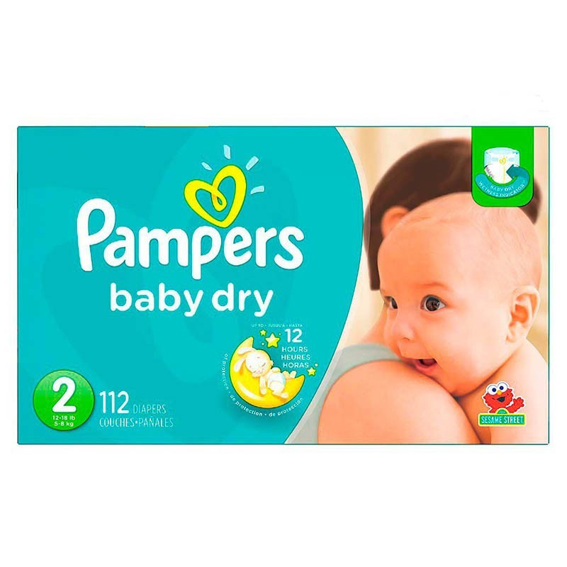 Pañales desechables Talla 2 - 112 unidades Pampers baby-dry